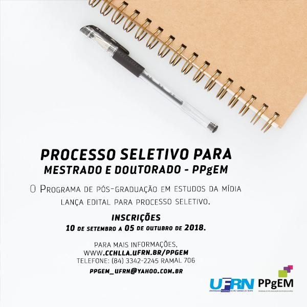 BANNER PROCESSO SELETIVO MESTRADO E DOUTORADO PPgEM